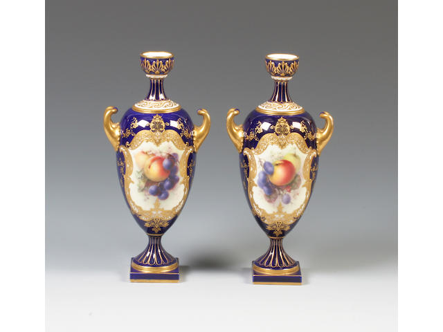 A pair of Royal Worcester vases by Richard Sebright Dated 1912