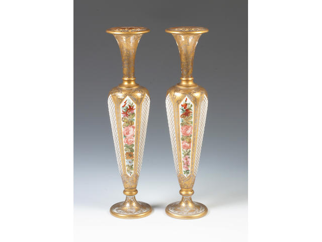 A pair of Bohemian overlay glass vases Circa 1880