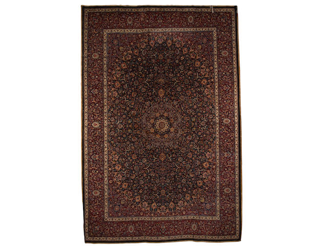 A Saber Mashed carpet North East Persia, 17 ft 4 in x 11 ft 9 in (527 x 357 cm) excellent condition throughout