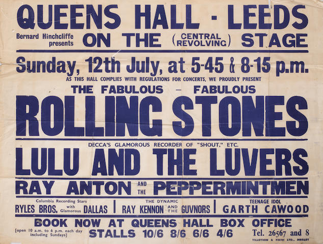 A rare poster for the Rolling Stones at the Queens Hall, Leeds, Sunday, 12th July 1964,