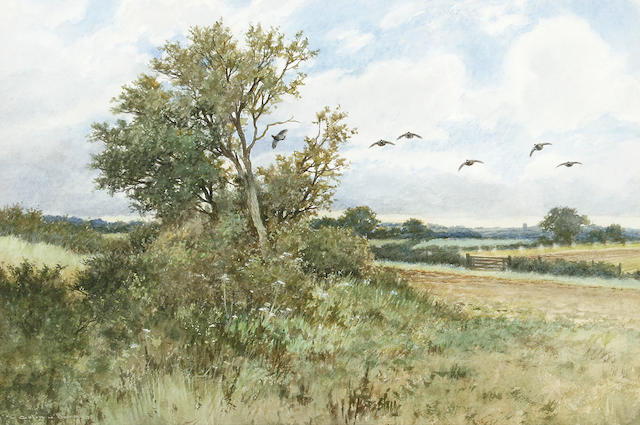 Colin W. Burns (British, born 1944) A Norfolk landscape with partridge 20 x 30.5 cm (8 x 12 in).