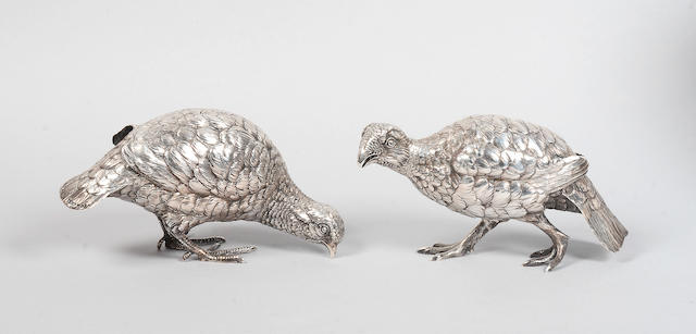 A pair of German silver grouse table decorations, Berthold Herman Muller, import marks 1913,  (2)