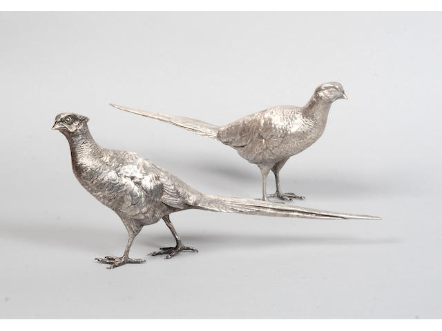 A pair of modern cast silver pheasant table decorations M D London 1972