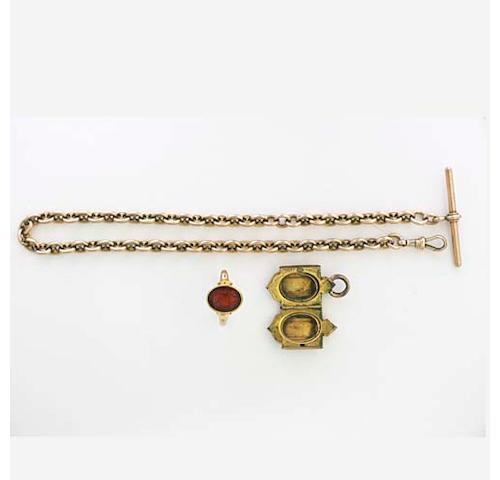 A 9ct gold anchor-link Albert chain,