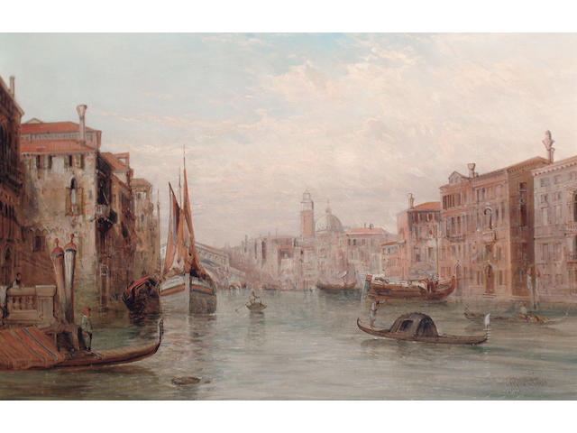 Alfred Pollentine (British, 1836-1890) The Grand Canal, the Rialto Bridge in the distance