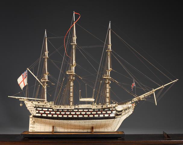 A large bone Prisoner-of-War model of HMS 'Victory' 32x10x24in(81x25x61cm)(model)