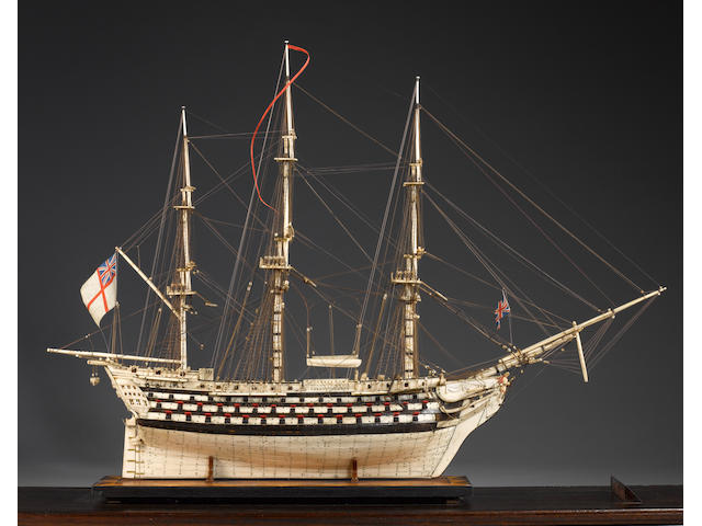 A fine and large bone Prisoner-of-War model of HMS 'Victory' 32x10x24in(81x25x61cm)(model)