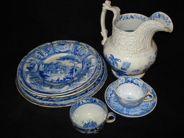 A group of blue-printed earthenwares