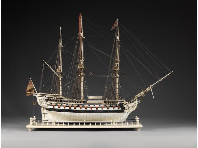 A well restored 19th century bone Prisoner of War model of an 80 gun ship 28x9.5x23in(71x24x59.5cm)