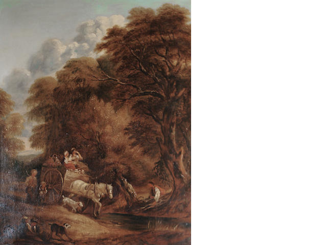 After Thomas Gainsborough, 19th Century  Wooded landscape with peasants in a country cart 102.7 x 83.1 cm. (40 3/8 x 32¾ in.)