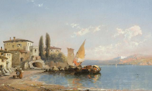 "Arthur Joseph Meadows (British, 1843-1907) ""Varrena - Lake Como"" and ""Camagli in the Riviera"" a pair,"
