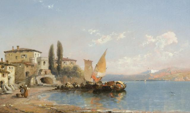 "Arthur Joseph Meadows (British, 1843-1907) ""Varrena - Lake Como"" and ""Camagli in the Riviera"" a pair,"