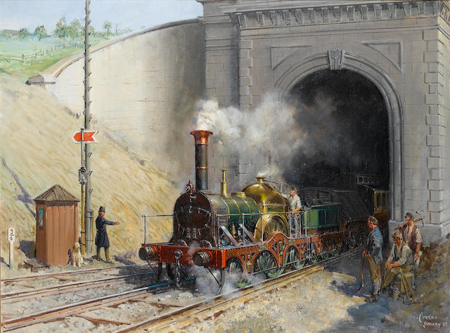 Terence Cuneo (British, 1907-1996) Firefly Leaving Box Tunnel, Great Western Railway, c.1841 77 x 102 cm. (30 1/4 x 40 1/4 in.)