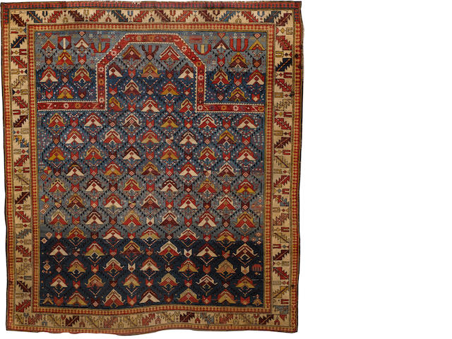 A Shirvan prayer rug East Caucasus, 4 ft 6 in x 4 ft (137 x 122 cm) both ends restored