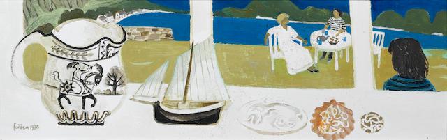 Mary Fedden R.A. (British, born 1915) Windowsill still life 19.5 x 61 cm. (7 5/8 x 24 in.)