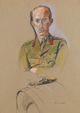 Percy Wyndham Lewis (British, 1882-1957) Portrait of a Staff Colonel of a Highland Regiment 52 x 37 cm. (20 1/2 x 14 1/2 in.)