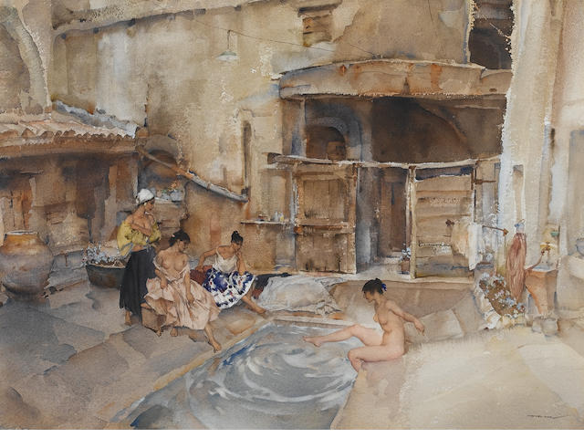 Sir William Russell Flint R.A., P.R.W.S. (British, 1880-1969) Courtyard caprice 49 x 66.5 cm. (19 1/