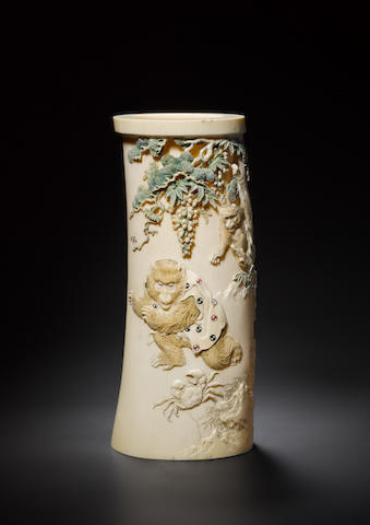 An ivory tusk vase By Kozan, Meiji Period
