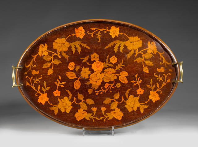 An Edwardian mahogany and floral marquetry tray