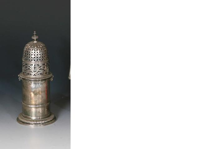 A Queen Anne silver lighthouse caster by Chas Adams, London 1704,