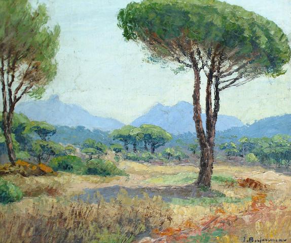 Jehann-Jules Berjonneau (French, 1890-1972) Landscape, Africa, 45.5 x 54.5cm.