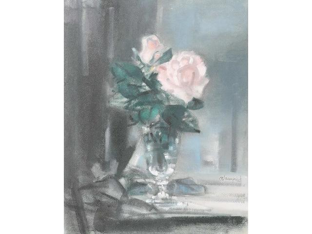 Edmund Blampied (Jersey, 1886-1966) 'Rose', signed, signed and inscribed on the reverse, oil on board, 45.4 x 35.9cm.