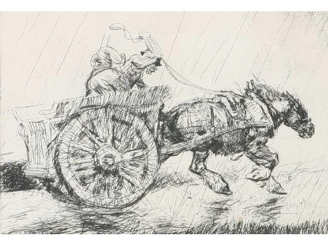 Edmund Blampied (Jersey, 1886-1966) 'Driving Home in the Rain', etching, (Arnold and Appleby No.35), signed in pencil, edition of 40, 18.7 x 25.8cm.