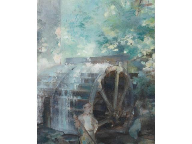 Edmund Blampied (Jersey, 1886-1966) The Water Wheel, Tesson Mill, a workman standing to the fore, signed and dated 1944, oil on board, 72.5 x 59.5cm.