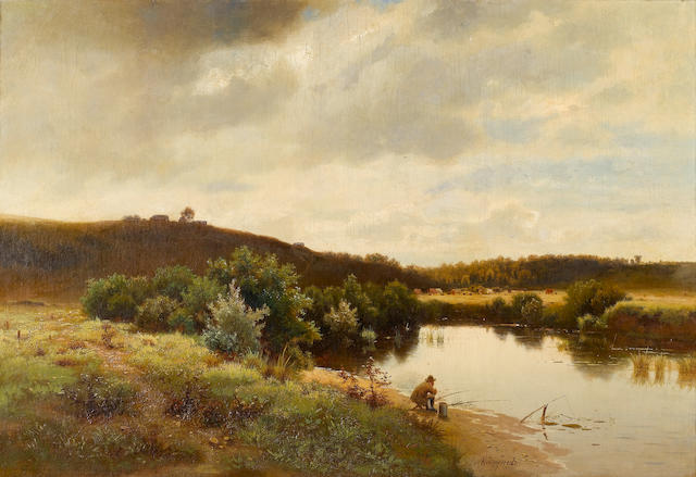 Lev L'vovich Kamenev (Russian, 1833-1886) Fishing on the river bank 55 x 80 cm. (21 3/4 x 31 1/2 in.