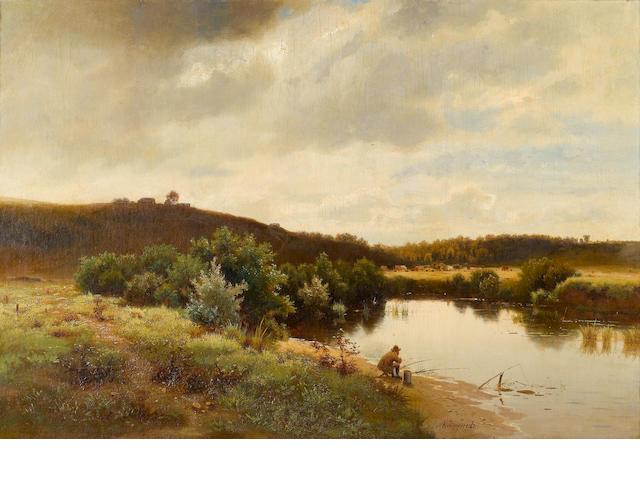 Lev L'vovich Kamenev (Russian, 1833-1886) Fishing on the river bank 55 x 80 cm. (21 3/4 x 31 1/2 in.