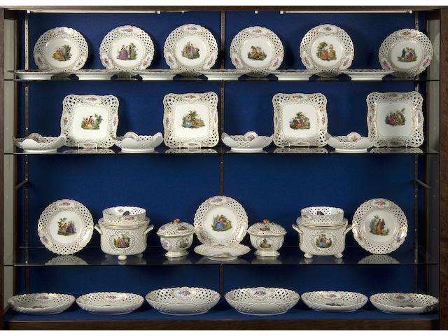 An extensive late Meissen dessert service 20th Century