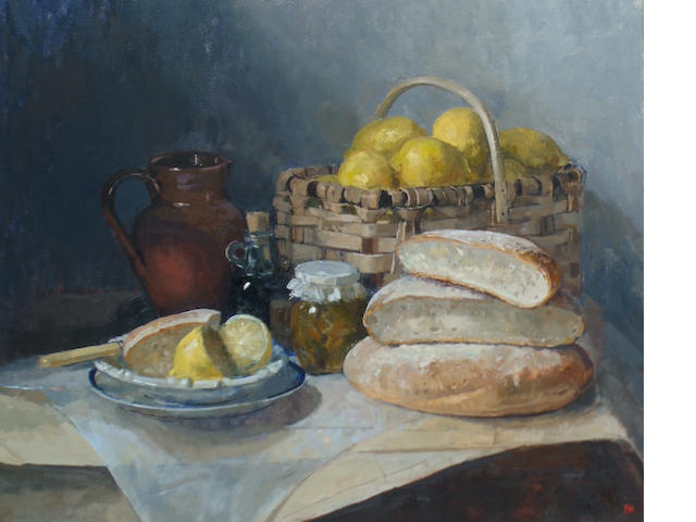 Pamela Kay (British, born 1939) Italian basket of lemons and bread