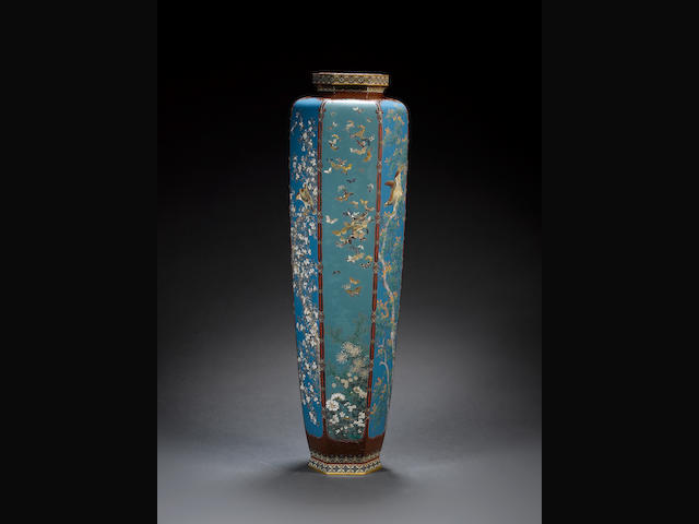 An unusually tall cloisonne enamel vase by Ota... Meiji period