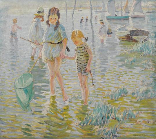 Dorothea Sharp (British, 1874-1955) Gone fishing 101.6 x 114.4 cm. (40 x 45 in.)