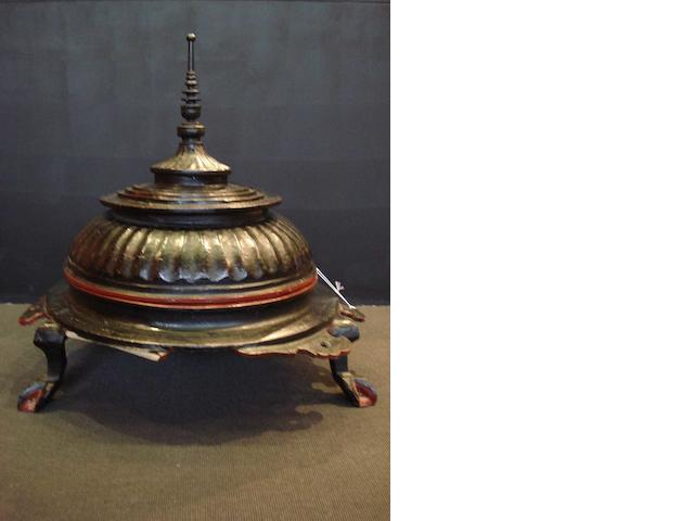A black and brown-red lacquered cylindrical box and domed cover;
