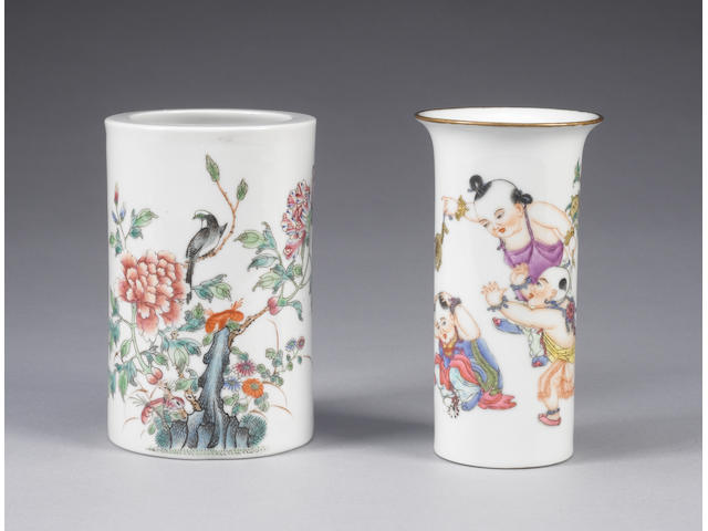 Two famille rose cylindrical vases One with Hongxian four-character mark and one with Qianlong four-character mark