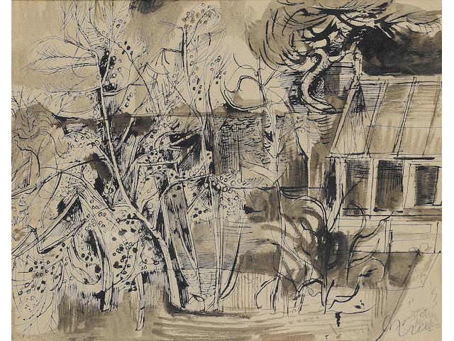 John Minton (British, 1917-1957) Cottage by trees 24 x 30.5 cm. (9 1/2 x 12 in.)