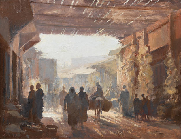 Edward Seago R.B.A., R.W.S. (British, 1910-1974) The Souk, Marrakech 50 x 65 cm. (19¾ x 25½ in.)
