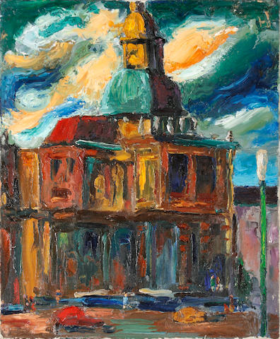 Colin Moss (British, 1914-2005) London church, c.1955 (unframed.)
