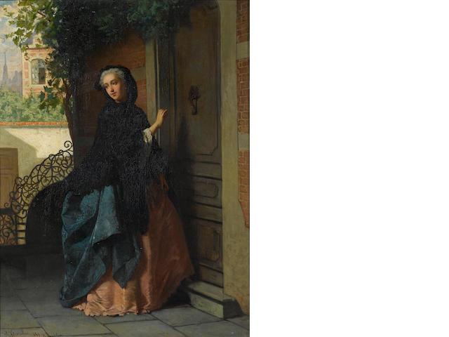 Jean Carolus (Belgian, 1814-1897) The visitor 46.5 x 35 cm. (18 1/4 x 13 3/4 in.)