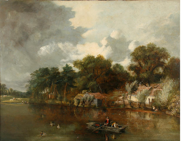 Circle of William Henry Crome (British, 1806-1873) Punt in a river landscape