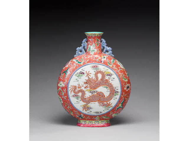 A large famille rose, ruby-ground moonflask Qianlong four-character mark