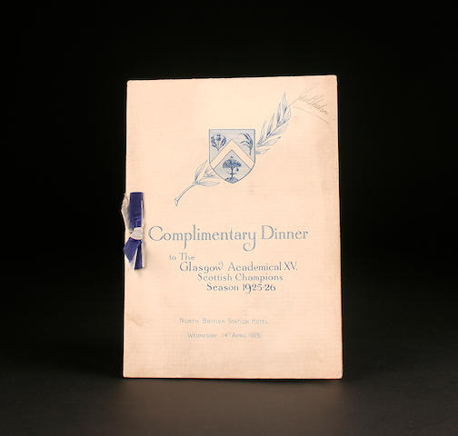 Glasgow Academicals champions 1925/26 season signed dinner menu