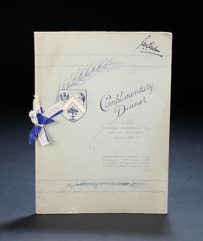Glasgow Academicals champions 1924/25 season signed dinner menu
