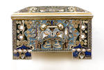 A Russian silver-gilt cloisonné enamel jewellery box 12.5 cm. (5 in.) long