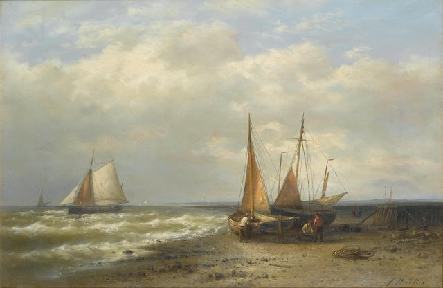 Abraham Hulk (Dutch, 1813-1897) Low tide 41 x 61 cm. (16 x 24 in.)