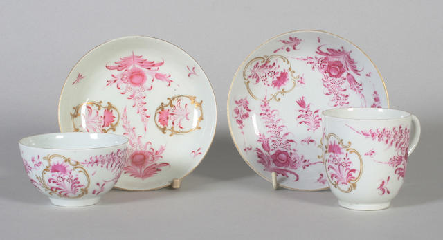 A Worcester coffee cup and saucer and a matching teabowl and saucer Circa 1770