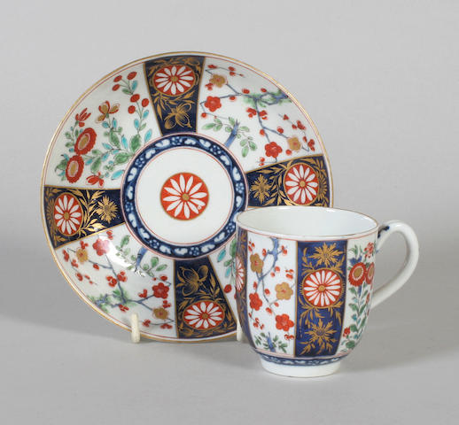 A Worcester coffee cup and saucer Circa 1770-80