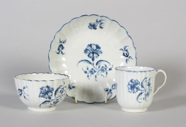 A Worcester coffee cup and a teabowl and saucer Circa 1760-70