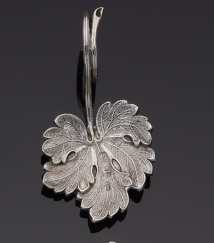 A Victorian silver 'strawberry leaf' caddy spoon, by Brown & Clarke, Birmingham 1852,